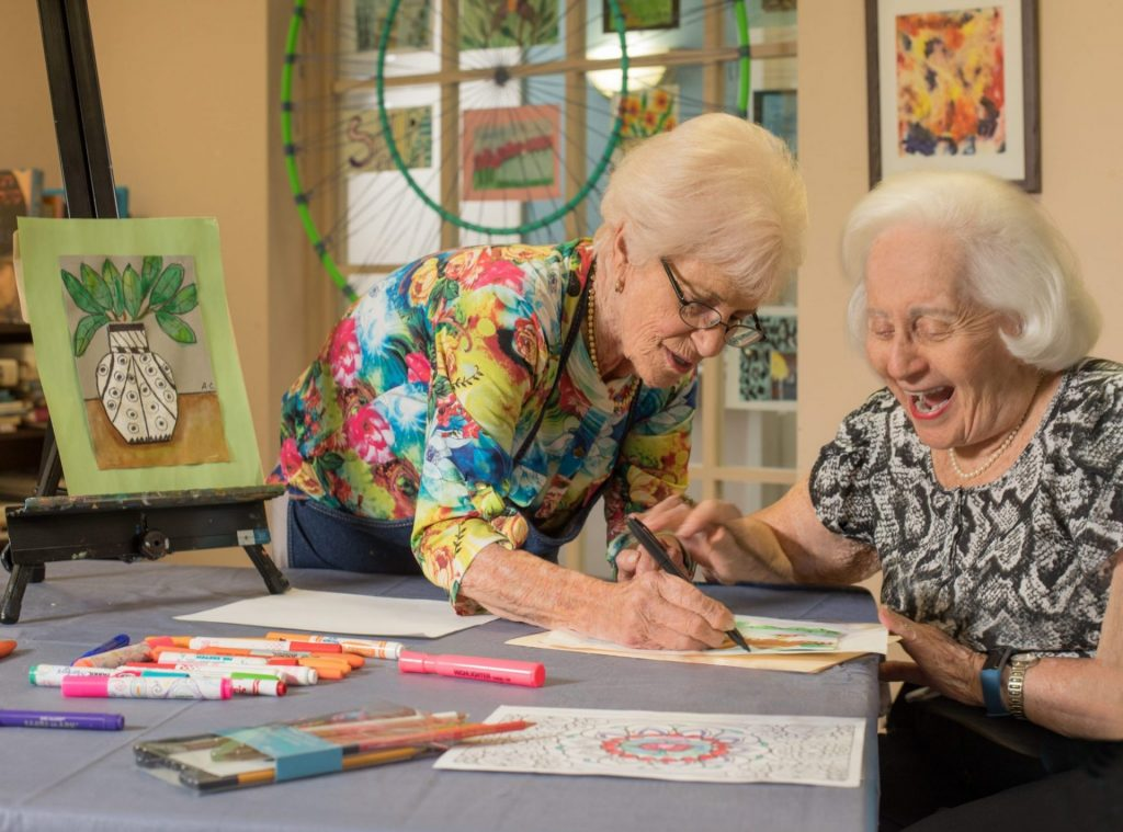 Female Residents drawing together