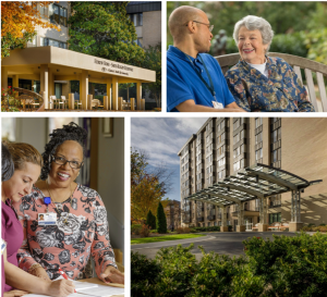 smiling residents and caregivers, long term care facility at CESLC