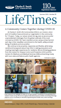 """The LifeTimes front page with the headline """"A Community Comes Together during COVID-19"""